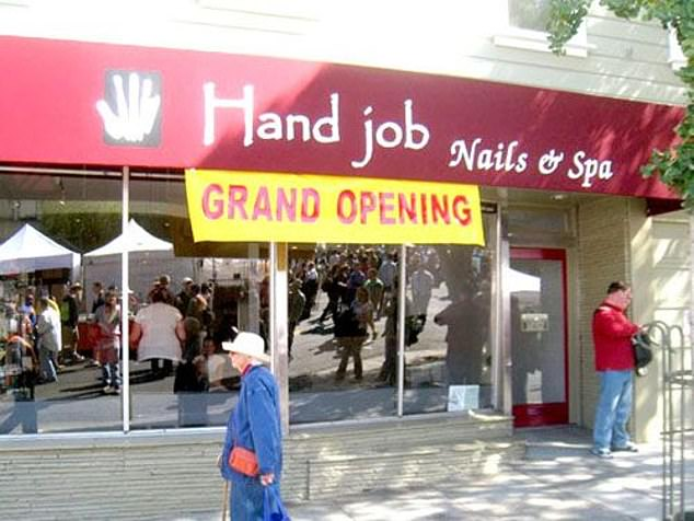 Meanwhile another manicure salon, in an unknown location, promises nails and spa, had a cheeky name that couldn't help but attract attraction