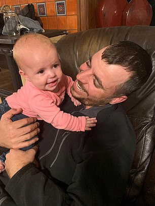 Faith has since been reunited with her father Tyler Johnson and was pictured smiling as he embraced her at their home