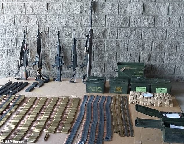 Authorities said the suspect, who is part of an El Chapo rival cartel, was also found in the possession of four assault rifles and ammunition, as well as various large vehicles including a bullet-proofed SUV