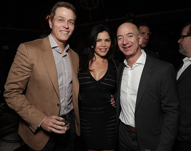 Love triangle: Their whirlwind romance came after the breakdown of Patrick's 14-year marriage to Lauren Sanchez (centre), who is now reportedly engaged to Amazon boss Jeff Bezos (right). The trio are pictured together on December 3, 2016, in Los Angeles
