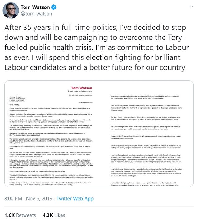 Mr Watson announced his intention to quit Westminster on Twitter as he said he will continue to campaign 'to overcome the Tory-fuelled public health crisis'