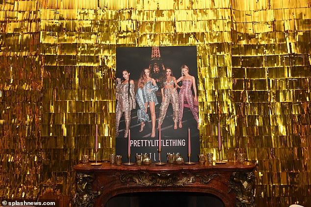 Golden girls! The walls were covered in gold fringe detailing for added sparkle