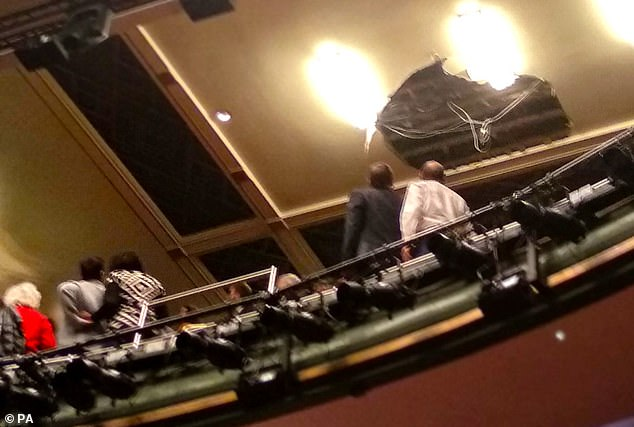 Screams were heard from audience members in the Grand Circle when a chunk of the theatre's ceiling (pictured) fell onto the crowd this evening