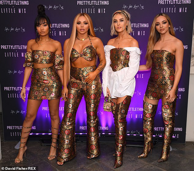 Sizzling: Little Mix's Jesy Nelson and her band mates were their own best advertisement, as they led the arrivals at the launch night wearing a selection of their ensembles from the clothing line at Aynhoe Park House in Banbury on Wednesday