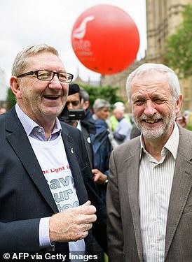 Jeremy Corbyn alongside Unite union General Secretary Len McCluskey as they joined steel workers oni a march in 2016