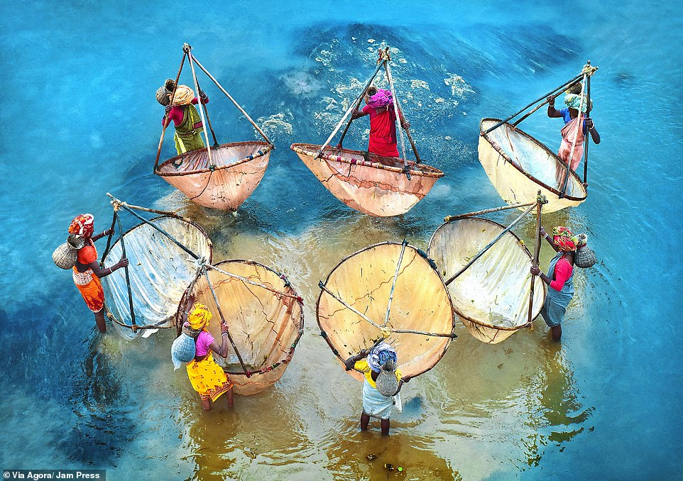 'Colors of life' photographed by Pranab Basak: In India, this photographer captured seven female fishermen standing in bright blue water as they tried to collect fish to later sell at a market