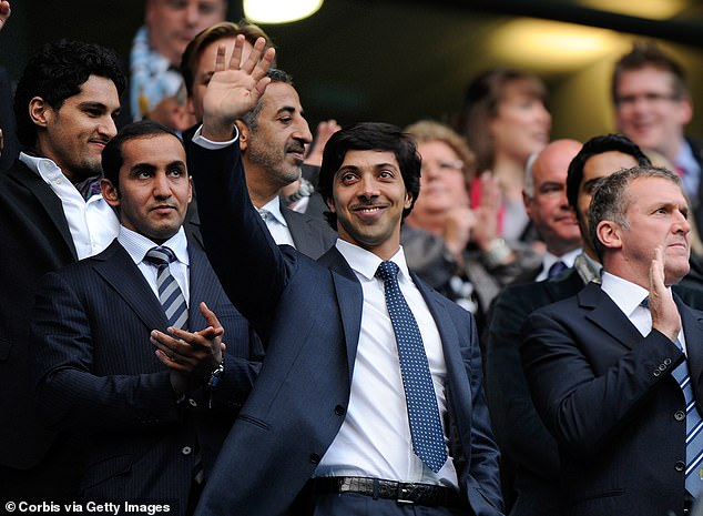 Sheik Mansour (center) took over Manchester City in 2008 and has delivered four titles so far