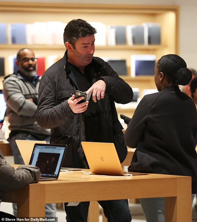 Steve Easterbrook was seen for the first time since he was fired from McDonald's over an affair with an employee, breaking cover while heading to an Apple store to buy a new laptop on Wednesday night, exclusive DailyMail.com photos show