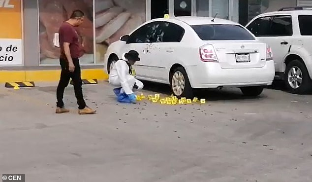 At least two men armed with semiautomatic rifles fired 155 bullets into a white Nissan parked near a shopping center in the Sinaloa city of Culiacan