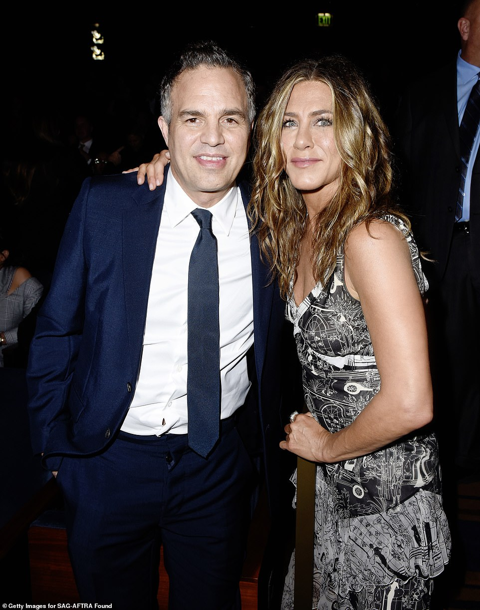 In the spotlight: Aniston posed inside the event with actor Mark Ruffalo, who was also honored withan Artists Inspiration Award