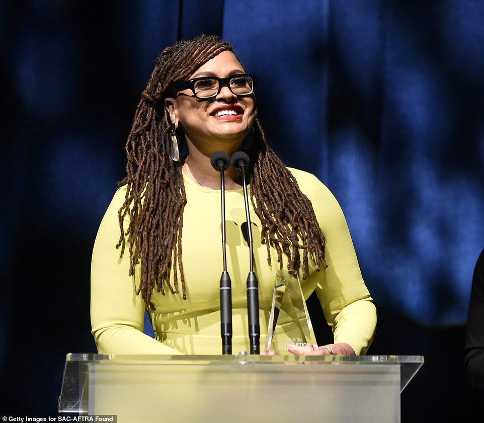 Influential filmmaker: DuVernay wore a vibrant yellow long-sleeve dress for the occasion and appeared delighted top be honored by the SAG-AFTRA Foundation