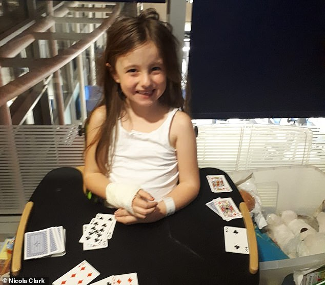Pictured in hospital, the now seven-year-old ended up in so much pain she would scream every time someone touched her, her mother said