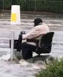 The woman was not daunted by the floods inSheffield