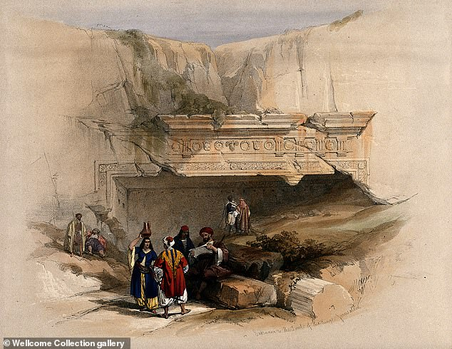 Entrance to the multi-levelled burial chambers comes via an ornate entryway that was once supported by two giant pillars, fragments of which were recovered in the 19th Century and can be seen here in this lithograph dating back to 1842