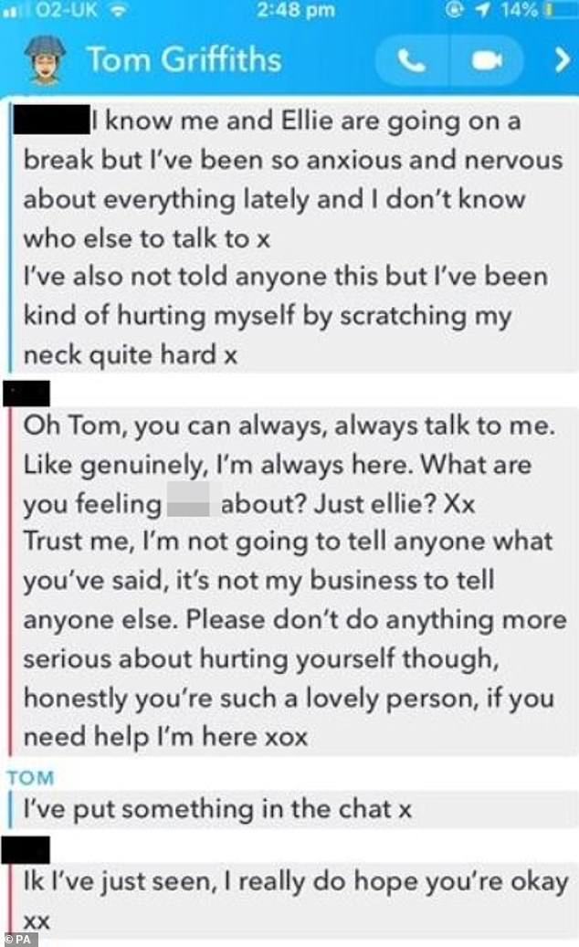 Another set of messages Griffiths sent to a friend saying he was feeling 'anxious and nervous about everything' following the breakup