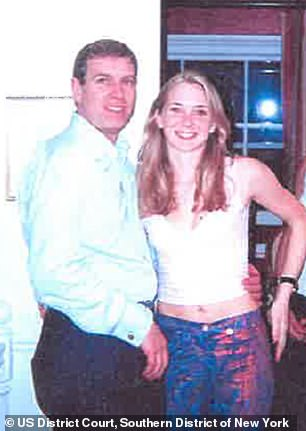 Roberts has accused Epstein of lending her out for sex with his friends while she was underage, including to Prince Andrew. Pictured: Prince Andrew with Virginia and Ghislaine Maxwell, who is out of frame