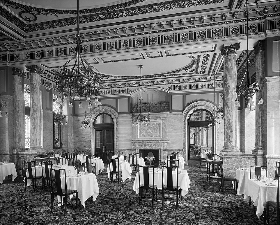 Luxury: Ornate architecture, marble columnsand huge chandeliers are a key feature of the five-star hotel. Pictured is a retro image of the dining room