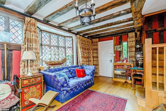 There's also a private guest sitting room (pictured) with a roaring log fire and courtyard garden. Guests are required to stay for a minimum of two nights