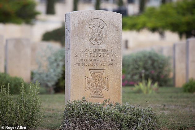 The tomb of Stanley Boughey is illustrated above. Ibrahim Jaradah, 27, who works for the Commonwealth War Graves Commission, has long been committed to making this place an oasis of beauty and calm