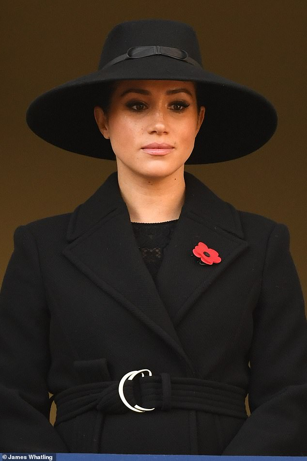 Meghan Markle gleamed in black as she gathered today with the rest of the royal family at the traditional wreath-laying service in Cenotaph on Memorial Day
