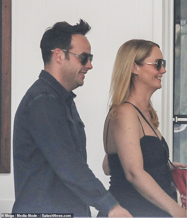 Loving Life: Ant McPartlin and friend Anne-Marie Corbett beamed with joy as they came to Australia on Sunday evening with Declan Donnelly and Ms. Ali Astall on a double date