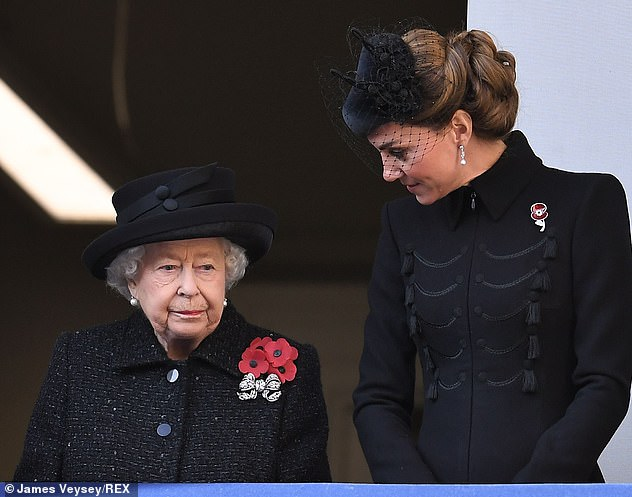 The Duchess of Cambridge pinned the elegant brooch to her military style coat for the Remembrance Day Service