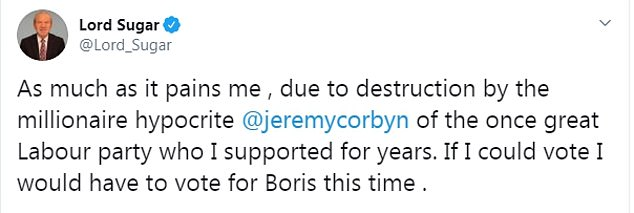 The Apprentice star and business mogul, 72, tweeted his support for Mr Johnson yesterday afternoon and branded the Labour leader a 'millionaire hypocrite'