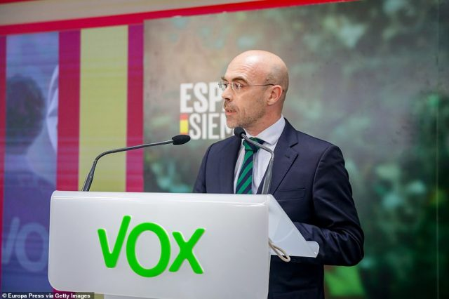 Analysts say lower turnout has traditionally hurt the country's left-wing parties. Pictured:The head of the Vox delegation at the European Parliament, Jorge Buxade, is seen giving a press conference in Madrid