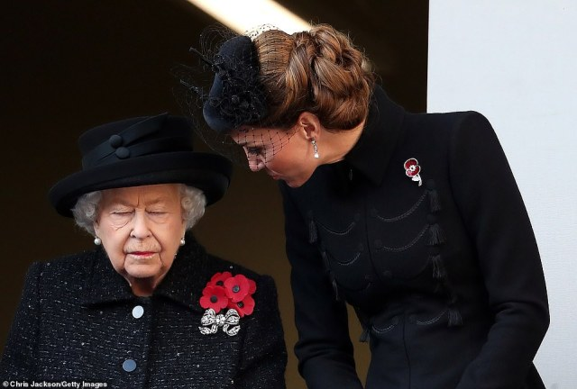 This year marks the 100th anniversary not only of the Cenotaph itself but of the two-minute silence at 11am. Both were introduced by George V in 1919, a mere seven years before the Queen's birth. Her Majesty is pictured with the Duchess of Cambridge