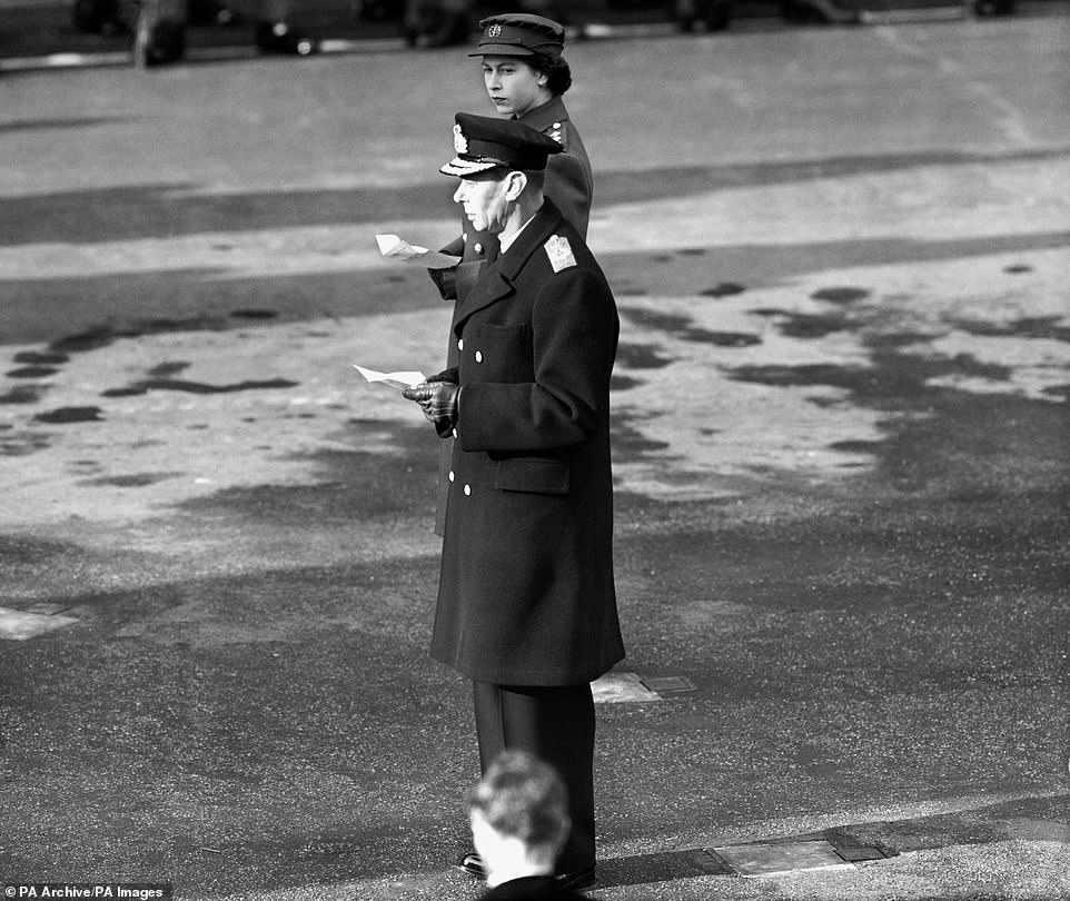 The then Princess Elizabeth, not yet Queen, is pictured withKing George VI during the service at the Cenotaph on Remembrance Sunday. The King died in February 1952