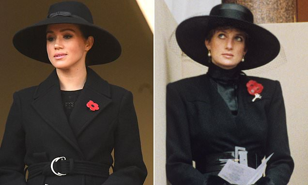 Meghan's Remembrance Day outfit looks similar to one worn by Diana