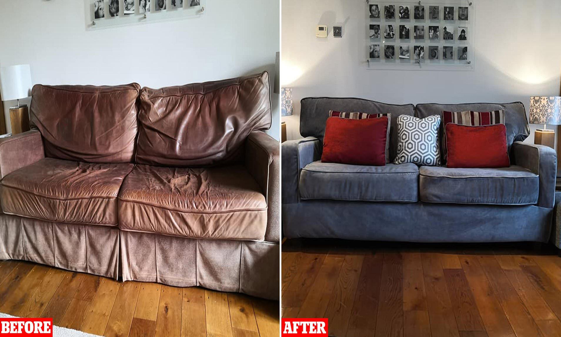 old shabby leather sofa