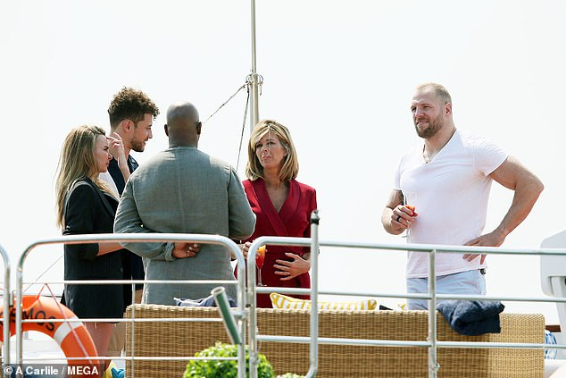 Star-studded: Kate joined her fellow campmatesJames Haskell, Ian Wright, Myles Stephenson, and Nadine Coyle on the luxury yacht