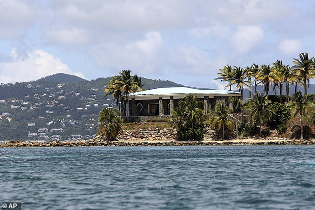 A view of Jeffrey Epstein's stone mansion on Little St. James Island (pictured above) - where Andrew was accused of taking part in an orgy in 2015 court documents