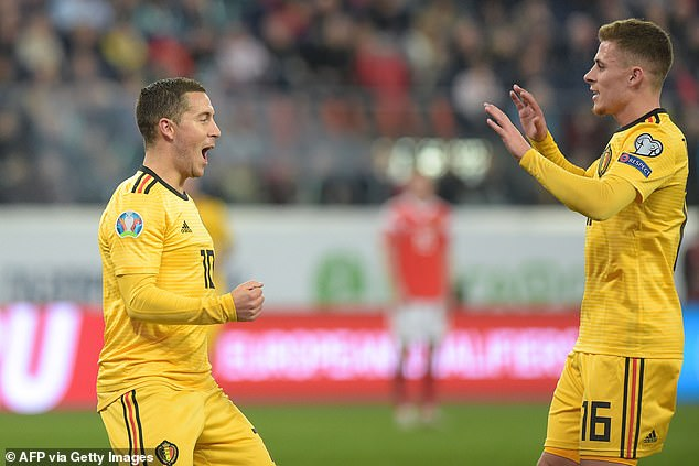 Eden Hazard (left) and Thorgan Hazard (right) helped Belgium to secure victory against Russia