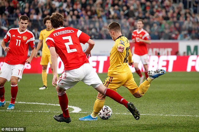 Thorgan Hazard opened the scoring for Belgium against Russia in the 19th minute of the game