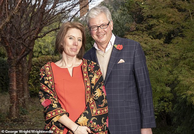 Aristocrat Charles Villiers, 57, has accused his estranged wife of being a bigamist. Pictured: With his new love Heidi Innes,an opera singer he met in 2017, at their home in Tyninghame East Lothian
