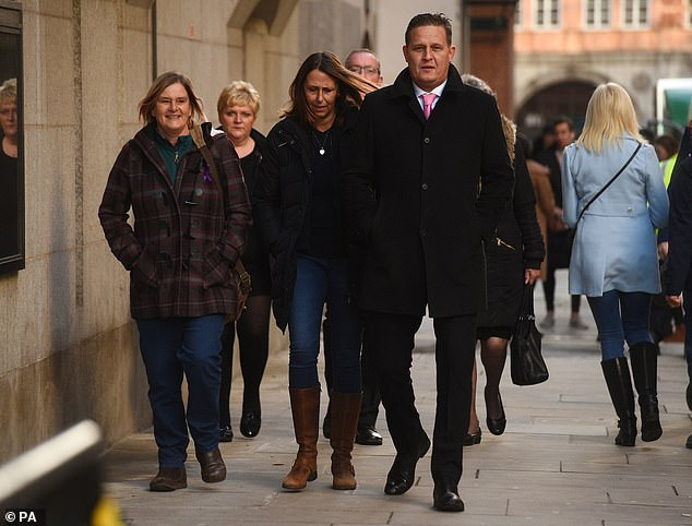 Members of Jodie Chesney's family arrive at the Old Bailey ahead of her killers' sentencing
