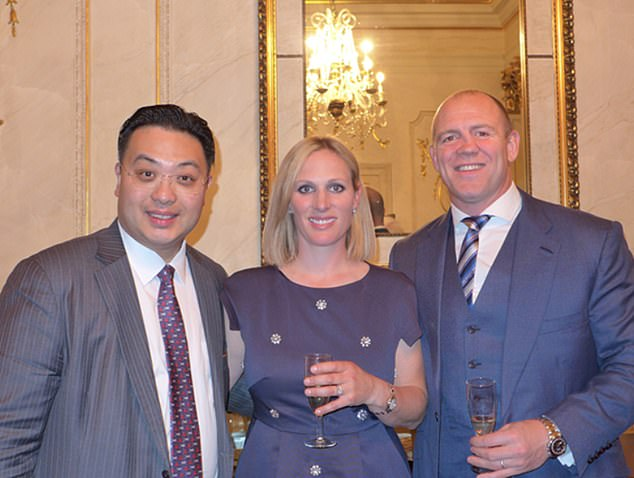Zara Tindall (centre), daughter of the Princess Royal, was revealed by the Mail this year to be in receipt of £100,000 annually for giving advice to Hong Kong millionaire Dr Johnny Hon (left), a generous fellow who, it further emerged, also paid the Duchess of York sums amounting to over £300,000
