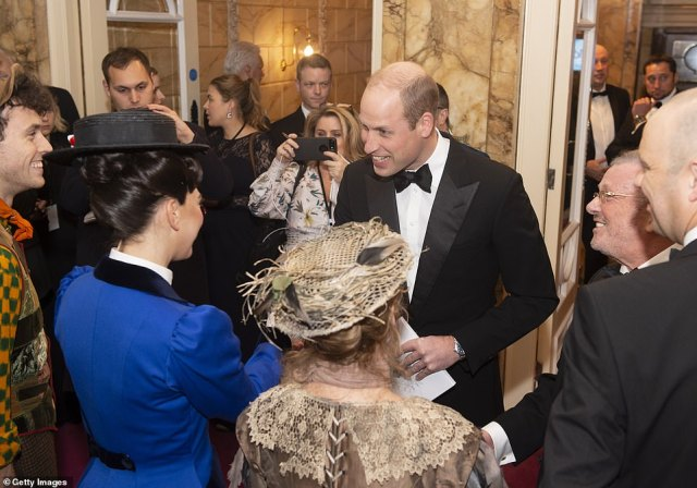 Prince William, Duke of Cambridge meets the cast of Mary Poppins including Petula Clark (in the beige hat) as he attends the Royal Variety Performance at Palladium Theatre on November 18