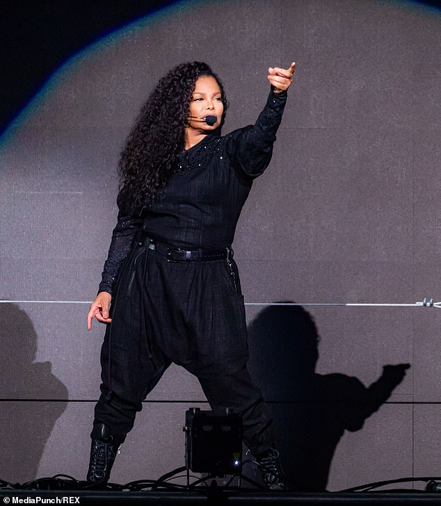 Born performer: Janet, who was clad in a black glittery jumpsuit, looked every inch the showgirl as she commanded the stage