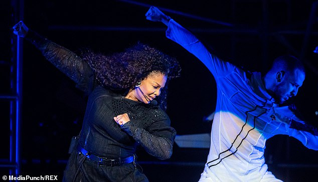 Iconic: Janet, who is known for her famous Jackson moves, gave her all to the performance