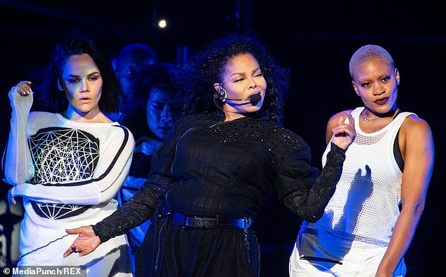 Here come the girls: Later in the show, Janet looked like she meant business as she was joined by a fleet of female dancers to perform some of her biggest hits