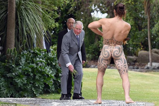 Prince Charles, 71, continued his tour of New Zealand on Saturday by visiting Kaikoura on the South Island, where he was met with a traditional welcome ceremony at Takahanga Marae