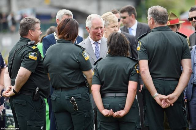 The royal spoke withmembers of the St John Ambulance during a public walk and also spoke with first responders to the 7.8-magnitude earthquake which struck the town ofKaikoura in 2016