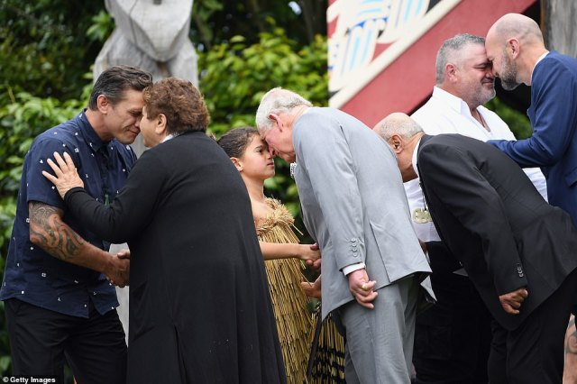 Prince Charles received a Hongi, a traditional Maori greeting, when he arrived at the town of around 2,000 people after taking a helicopter ride from Christchurch earlier on Saturday
