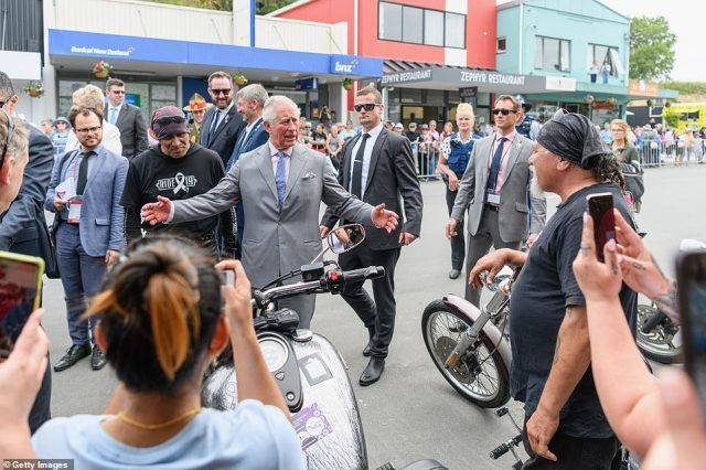 The Prince of Wales met some of the White Ribbon Riders, a group who are taking part in a motorcycle tour in support of programmes against domestic violence, during his walk around Kaikoura on Saturday