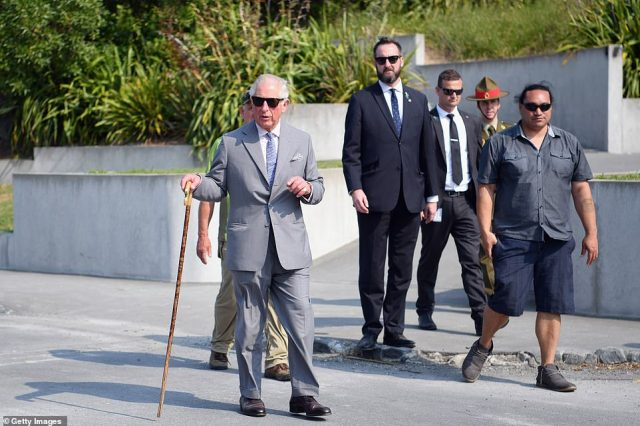 Prince Charles, pictured on the coastal walk at Kaikoura Peninsula on Saturday, will now head to the Soloman Islands
