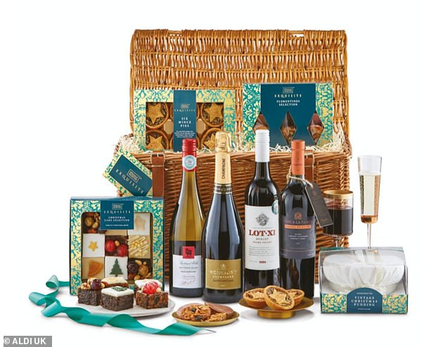 Presented in a large wicker basket and hand-tied with a ribbon, this hamper includes four bottles of wine and cakes made especially for the hamper including a vintage Christmas pudding