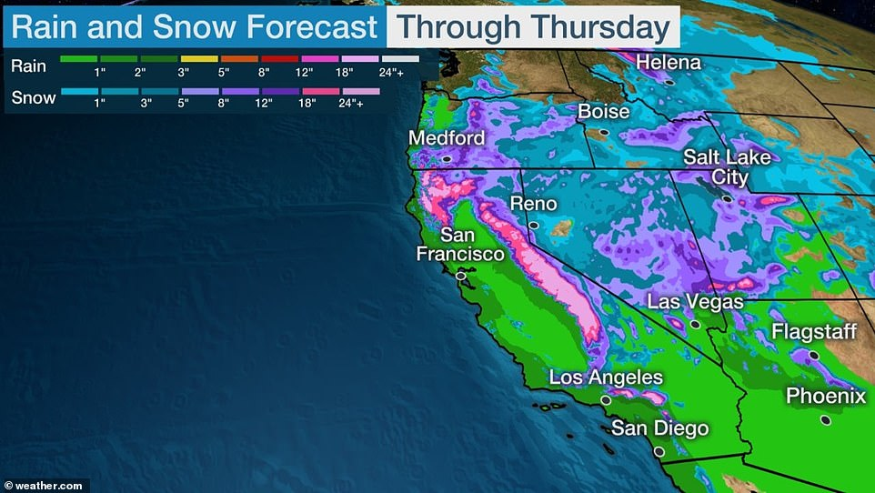 Another major storm is expected to descend on the West Coast over Tuesday and Wednesday, bringing 'bomb cyclone' conditions with over two feet of snow to the mountains in the Northwest and possible flash flooding in Southern California